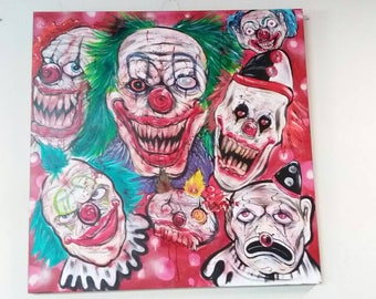 Acrylic painting of evil clowns. 48in x 48in. (PICK UP ONLY)
