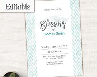Blessing Invitation, Editable PDF,  Boy Editable file, boy Invitation, No Photo Needed, watercolor