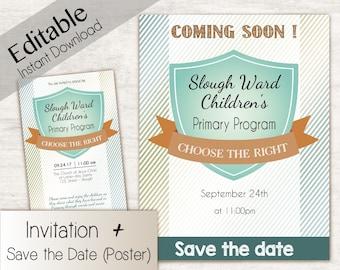 Sacramental Program Invitation, Editable Invitation, Primary Program Save the date, LDS Primary 2017 Theme PRINTABLE Choose the Right