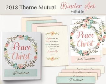 "2018 Theme YW  Editable Binder Set, Printable Young Women, Binder Cover, Spines,  2018 LDS Mutual Theme ""Peace in Christ"""