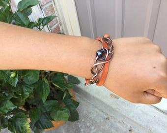 Bracelet Copper Wire Orange Genuine Leather Strap Pink Freshwater Pearl