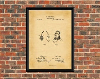US Patent Drawing. EAR MUFFLERS 1877 A4 Poster Art Print  / Black & White / or Vintage