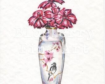 Carnation Tamara Jare  art signed giclee print flower in vase watercolor wild flower garden classics contemporary art still life painting