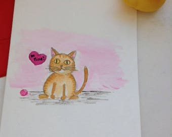 Be mine, Kitty! - Valentine cards - Handmade watercolor