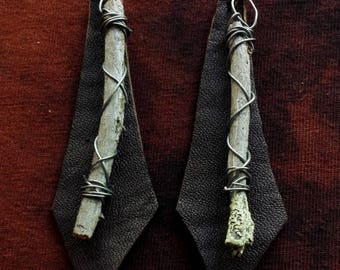 Handmade unique pagan style leather & wood earrings