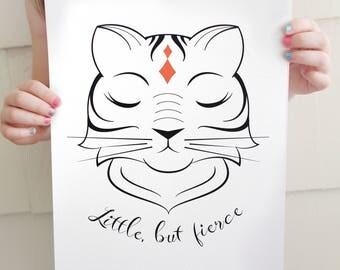"Royal Tiger ""Little, but Fierce"" Archival Fine Art Print / Shakespeare quote / Girl's Room / Nursery Decor"