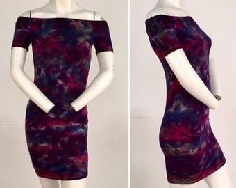 Off the Shoulder Fitted Dress - Berry Delight- Size Medium