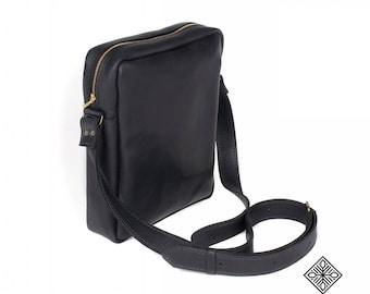 Leather Handbag Messenger bag 03, Genuine leather, Man bag, Big leather bag, Soft leather bag, Black bags, Handmade bag, Leather tote