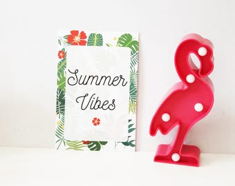 """Map postcard """"Summer vibes"""" tropical pattern"""