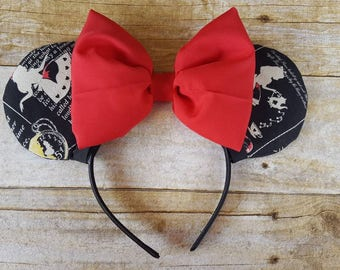 Alice in Wonderland, Minnie Mouse Ears, Red Bow, Black and white, Tea Party, Mad Hatter