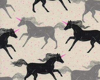 Cotton + Steel – Magic Forest by Sarah Watts, Unicorns - Noir