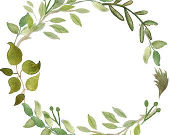 Greenery Clipart Leafy Wreath Watercolor Wreath Watercolor Clipart Minimalist Wreath