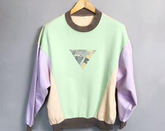 VINTAGE • sweater • M • pastel colors • pastel colored • crewneck • sweatshirt • jumper • 80s • 90s