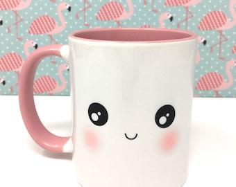 Cute Pink Kawaii Face Mug Design One - Two Faces