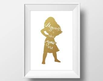 Wall Art Gold Foil Digital Moana Print,Moana Disney Quote Print,Printable Foil Disney,Glitter,Nursery Print,Baby Gift,Room Decor,Digital