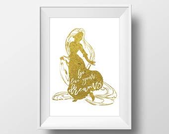 Wall Art Gold Foil Digital Princess Rapunzel Print,Tangled Disney Quote Print,Printable Foil ,Glitter,Nursery Print,Baby Gift