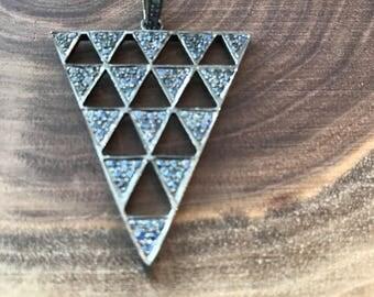Pave sapphire pendant, pave diamond pendant, sterling silver and sapphire pendant, interchangeable necklace, sapphire pendant