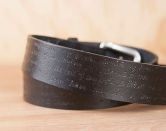 Mens Black Leather Belt - Personalized Belt with Removable Buckle and Custom Inscription - Handmade Gift For Him