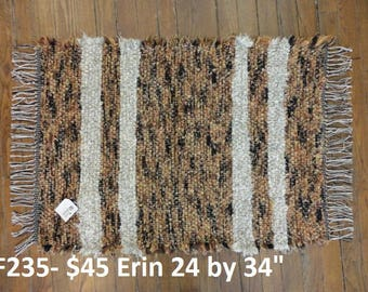 Gold and Black Fuzzy Rug with cream color stripes.  Tiger Colors  :-) 24 inch by 34 inch F235