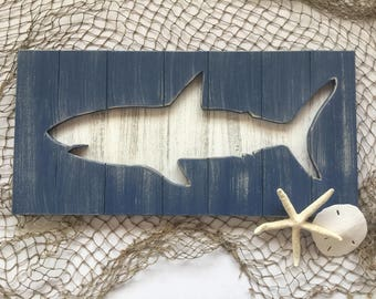 Shark Beach Wall Art Beach House Decor Beach Art Great White Home Decor Jaws Wood Wall Art Shark Art