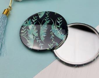 Dark Tropical Pocket Mirror - Compact Mirror - Stocking Stuffer