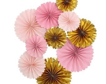Pink and Gold Paper Rosettes for Girl Baby Shower Ballerina Party and Wedding Background Pack of 10