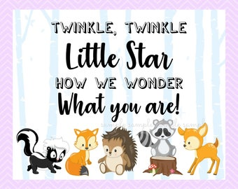 Twinkle Twinkle Little Star How We Wonder What You Are Sign, Gender Reveal Table Sign, Printable, Baby Shower Party, Woodland Design style