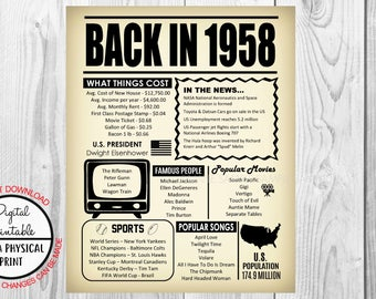 60th Birthday Poster Sign, Back in 1958 Newspaper Style Poster, Printable, Instant Download, 1958 Facts, 60 years ago, Anniversary Gift