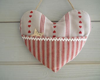 Hanging - fabric heart door cushion mountain spirit Pocket treasures - hanging heart - red heart for mountain cabin