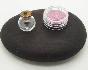 glass globe with its box pink sandblasted