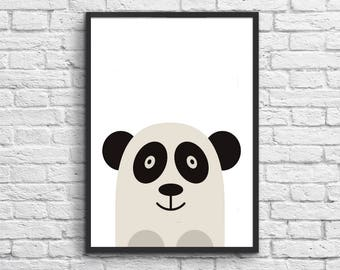 "Panda Print, Digital Download Nursery Print, Baby Girl Nursery Art, Girls Room Art, Nursery Decor, Instant Download Printable Nursery ""6"""