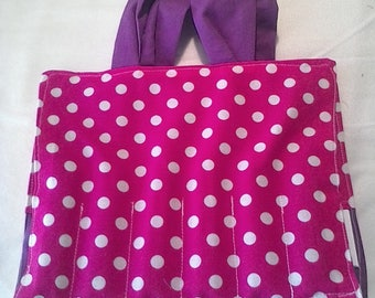 Pink with white dots coloring tote