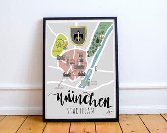 Munich map poster - original artwork, posters kids