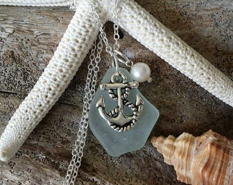 Handmade in Hawaii, Seafoam sea glass necklace, Anchor  charm, Fresh water  pearl, Sterling silver chain, Hawaii beach jewelry gift .