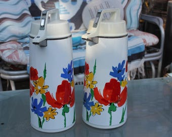 1975 Vintage Everest Glass Insulated Coffee Airpot - Pump Carafes - APN 1900 - Matched Pair - Floral - Excellent Condition