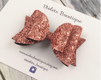 Copper glitter bow, autumn glitter clip, baby bow headband, double layer bow, fall glitter bow