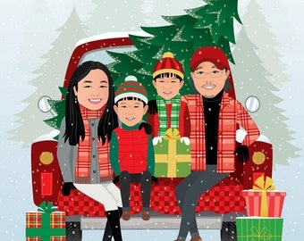 Personalized Illustration. Christmas Illustration. Custom family portrait. Christmas tree farm