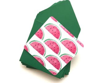 Watermelon stationery, watermelon mini cards, blank stationary cards, gift tags with envelope, watermelon gift tags, stationery set, 3x3 car
