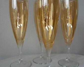 Set of 4 Vintage Amber Gold Lustre Champagne Flutes