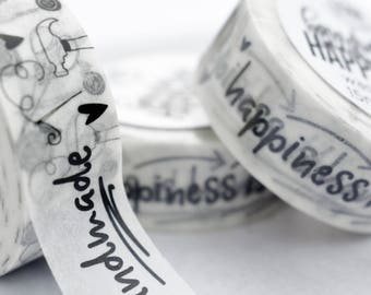 SHOP EXCLUSIVE - Handmade Happiness Washi Tape - Washi Tape Black and White - Happiness is Handmade - Seller Packaging - Washi Tape Art