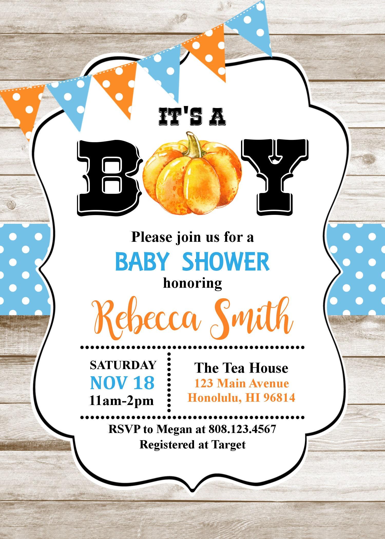 Halloween Baby Shower Invitation. Little Pumpkin Baby Shower ...