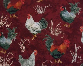 French Roosters Riley Blake 100% Cotton Fabric C5071-Red #91