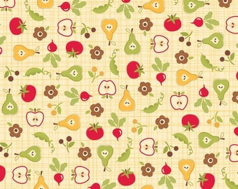 By the HALF YARD- Farm Fresh FLANNEL by October Afternoon for Riley Blake, #F9002 Cream Root Cellar, Fruits & Vegetables on Cream Crosshatch
