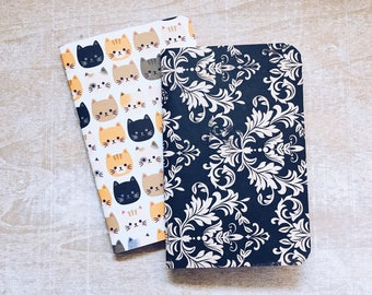 Set of 2 CATS notebooks, handmade pocket notebook, cat notebook, notebook journal, fauxdori refill