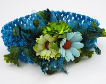Flower Boho Headband - Boho Baby Flower Crown, Toddler Headbands, Flower Girl Headband, Toddler Girl Headbands, Boho Flower Crown