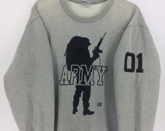 Vintage 90's ARMY Classic Design Skate Sweat Shirt Sweater Varsity Jacket Size M #A878