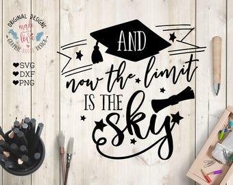 graduation svg, graduate svg, the sky is the limit svg, tassel svg, college svg, university svg, teaching svg, students svg, t-shirt design