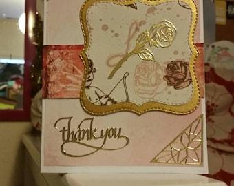 Pink rose thank you card