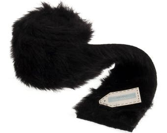 Black Faux Fur Trim - 80mm x 2m - Trimits Polyester