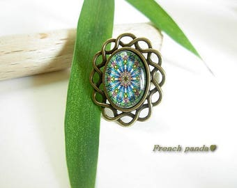 "Beautiful ""psychedelic"" bronze Adjustable ring"